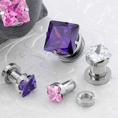 Prong Set Square Gem Plugs