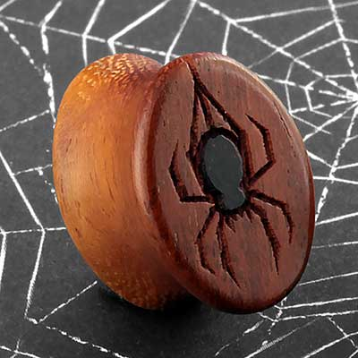 Wood Inlay Spider Oval Plugs