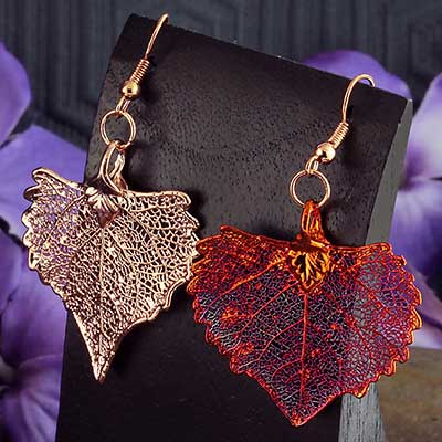 Electroplated Cottonwood Leaf Earrings