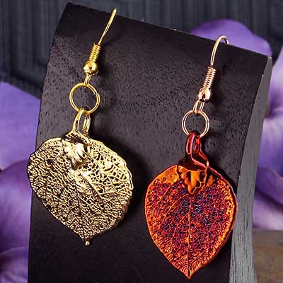 Electroplated Aspen Leaf Earrings