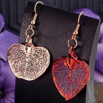 Electroplated Eucalyptus Leaf Earrings