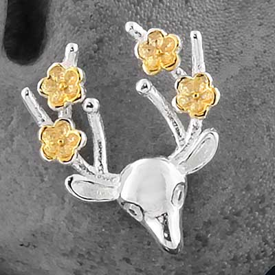 Silver Flower Deer Stud Earrings