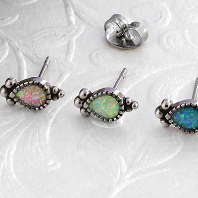 Synthetic Opal Beaded Teardrop Stud Earrings