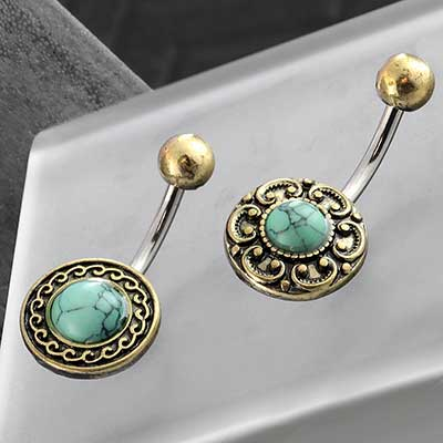 Antique Brass Framed Navel with Synthetic Turquoise