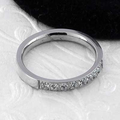 CZ Paved Steel Band Ring