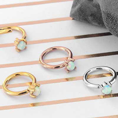 Prong Set Synthetic Opal Seamless Ring