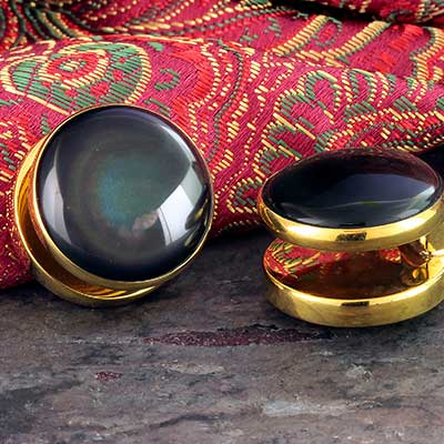 Solid Brass Yayo Design with Rainbow Obsidian