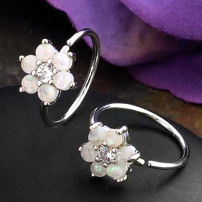 White Opal Flower Seamless Ring