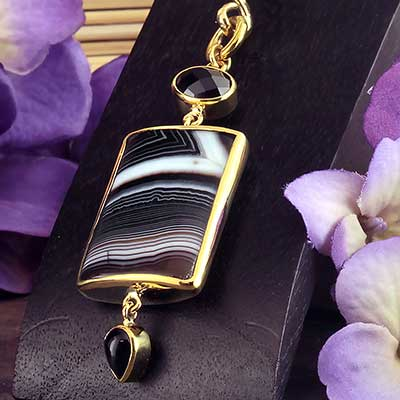 Solid Brass and Banded Agate with Obsidian Weights