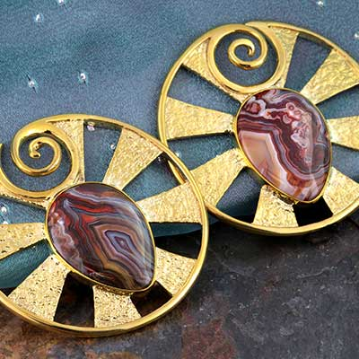 Solid Brass Eye of Shiva Design with Laguna Agate