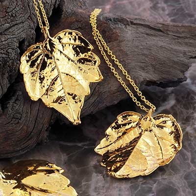Gold Electroplated Grape Leaf Necklace
