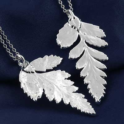 Silver Electroplated Fern Leaf Necklace