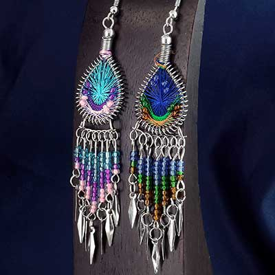 Woven Teardrop Dream Catcher Earrings