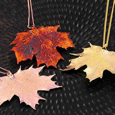 Electroplated Sugar Maple Leaf Necklace