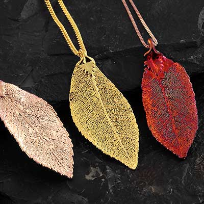 Electroplated Elm Leaf Necklace
