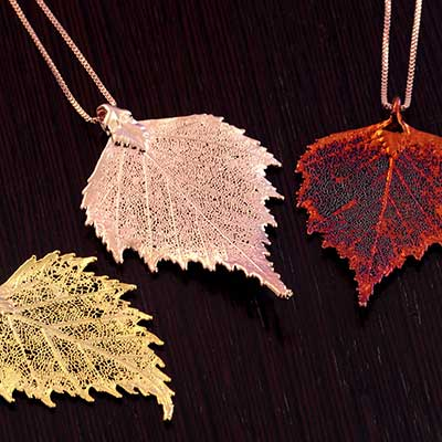 Electroplated Birch Leaf Necklace