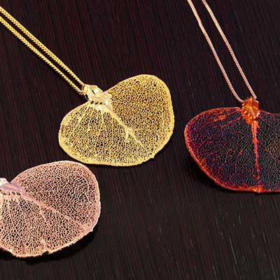 Electroplated Eucalyptus Leaf Necklace