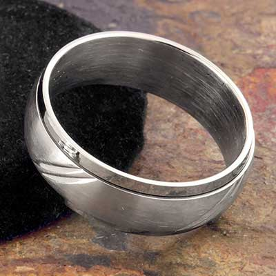 Steel Scored Spinner Band Ring