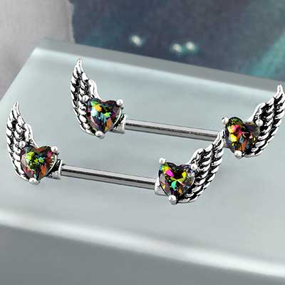 Mystic Winged Heart Nipple Barbell