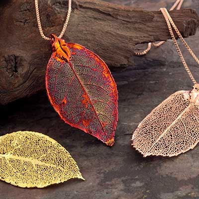 Electroplated Rose Leaf Necklace