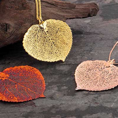 Electroplated Aspen Leaf Necklace