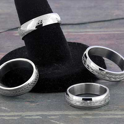 Engraved Convex Steel Ring