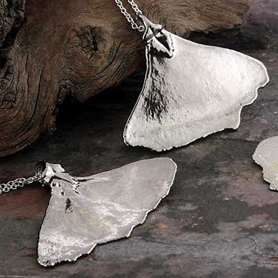 Platinum Electroplated Ginkgo Leaf Necklace