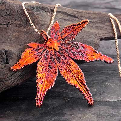 Electroplated Japanese Maple Leaf Necklace