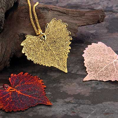 Electroplated Cottonwood Leaf Necklace