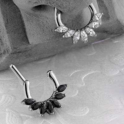 Prong Set Marquise CZ Septum Clicker