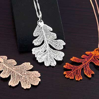 Electroplated Lacey Oak Leaf Necklace