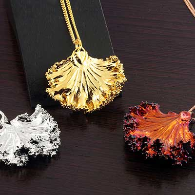 Electroplated Kale Leaf Necklace