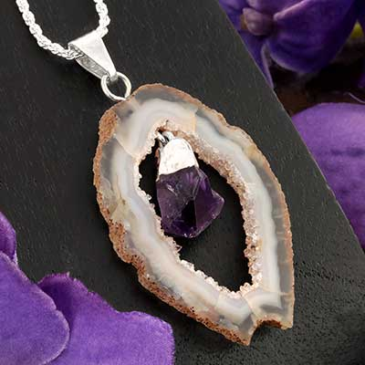 Geode with Amethyst and Silver Necklace