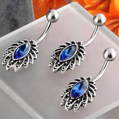Ornate Sapphire CZ Navel