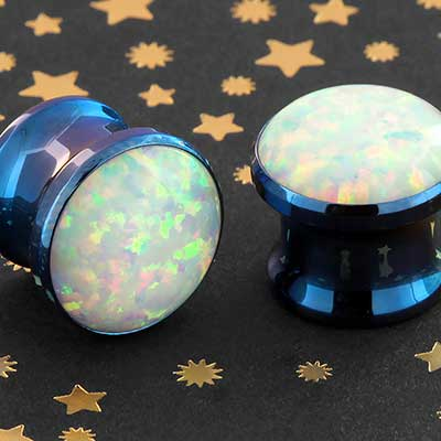Titanium Single Opal Eyelet