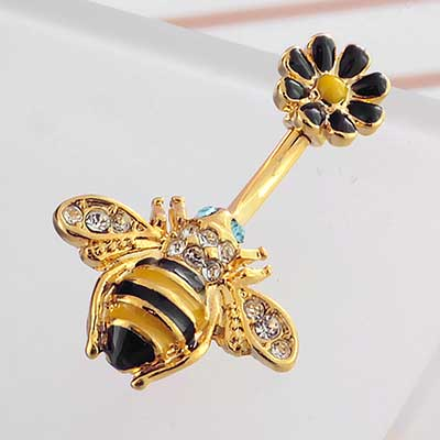 Bumble Bee and Flower Navel