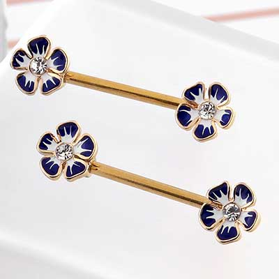CZ Navy Flower Nipple Barbell