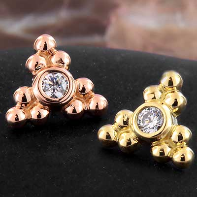 18k Gold Sabrina Three Cluster End