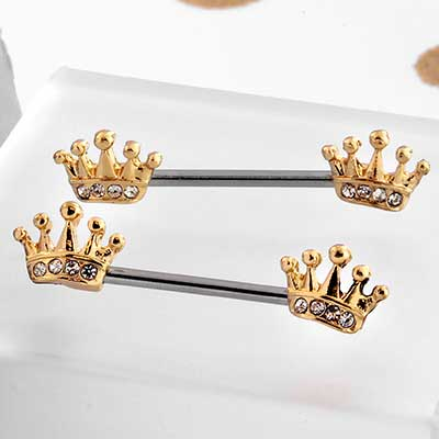 Gold CZ Crown Nipple Barbell