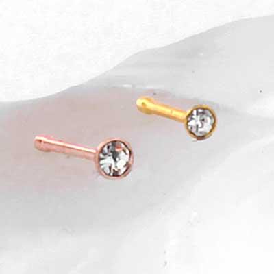 Gold Colored Bezel Set Gemmed Nosebone