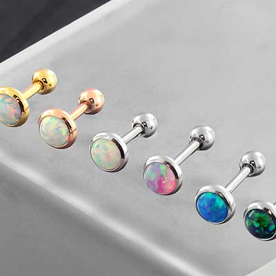 Bezel Set Opal Barbell