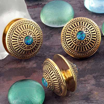 Brass and Synthetic Opal Solar Disc Weights