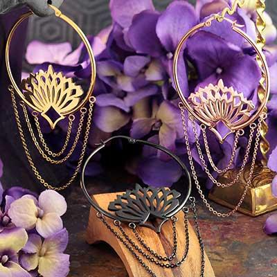 Peacock Hoop Earrings with Chains