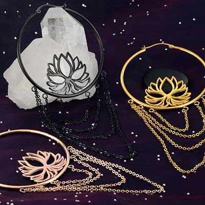 Lotus Hoop Earrings with Chains