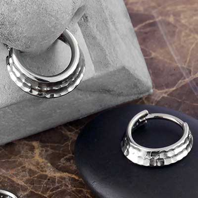 Titanium Hammered Three Ring Clicker