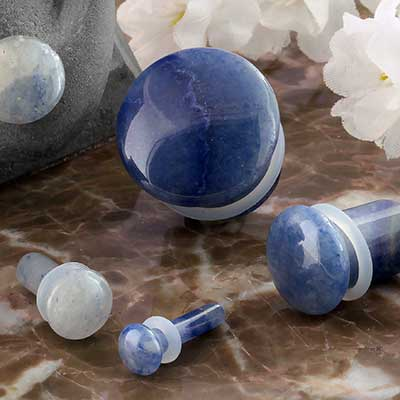 Single Flare Blue Aventurine Plug