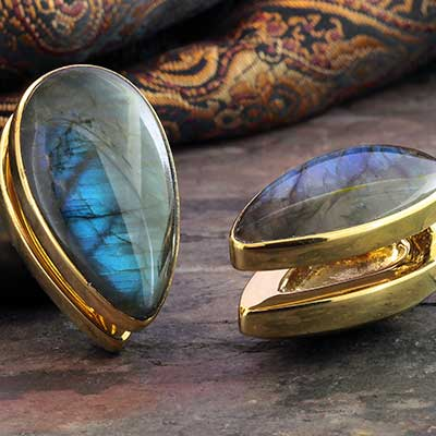 Solid Brass Spade Weights with Labradorite