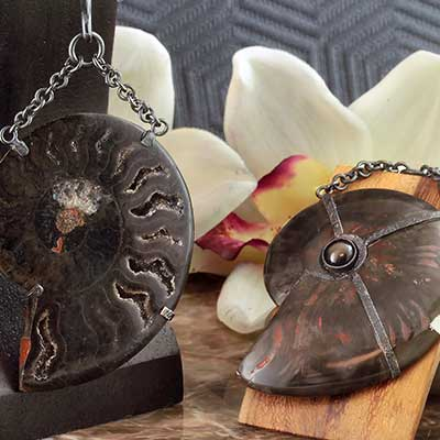 Oxidized Silver and Black Ammonite Dangles