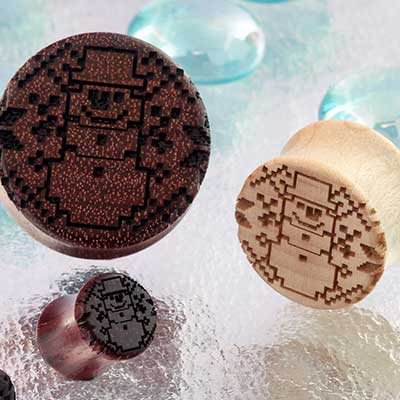Pixelated Snowman Plugs