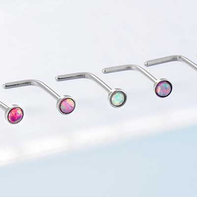 Steel Bezel Set Opal Straight Nosescrew